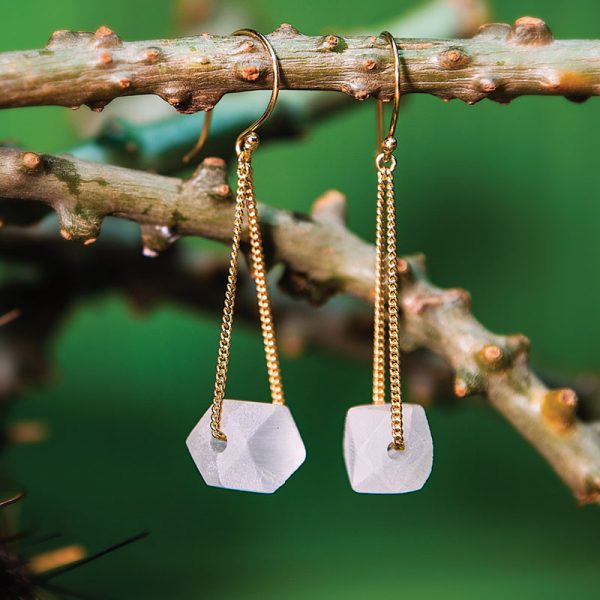 Gold Cube Earring